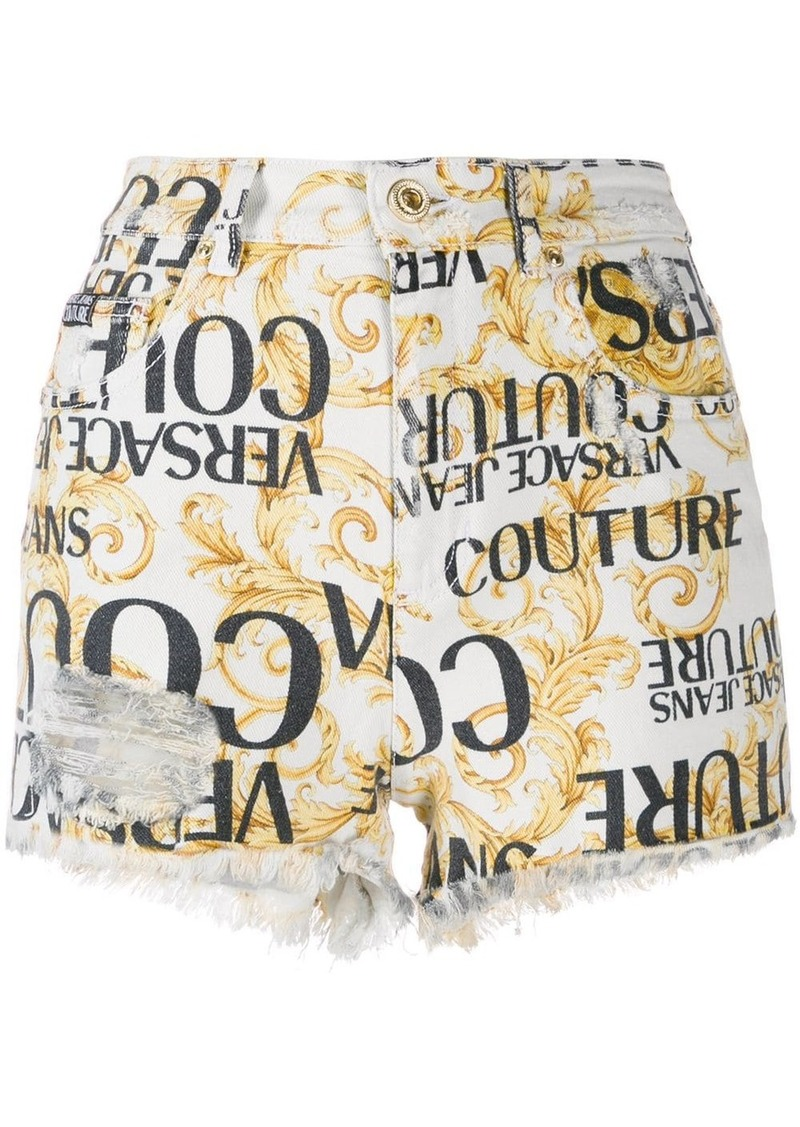 Versace logo baroque print shorts