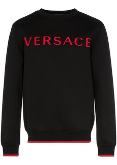 Versace logo embroidered contrast trim jumper