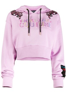 Versace logo embroidered cropped hoodie