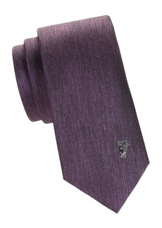 Versace Logo Embroidery Silk Tie