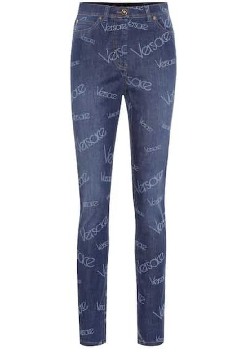 Versace Logo high-rise skinny jeans