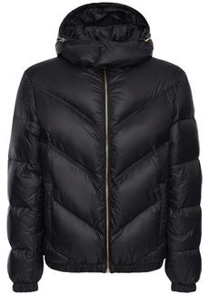 Versace Logo Hooded Nylon Down Jacket