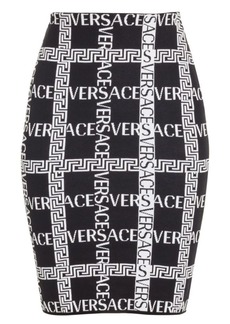 Versace Logo Jacquard Knit Pencil Skirt