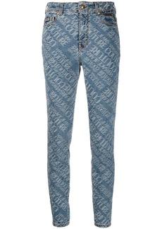 Versace logo jaquard skinny jeans