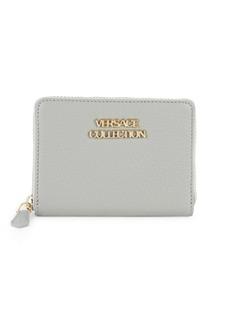 Versace Logo Leather Zip-Around Wallet