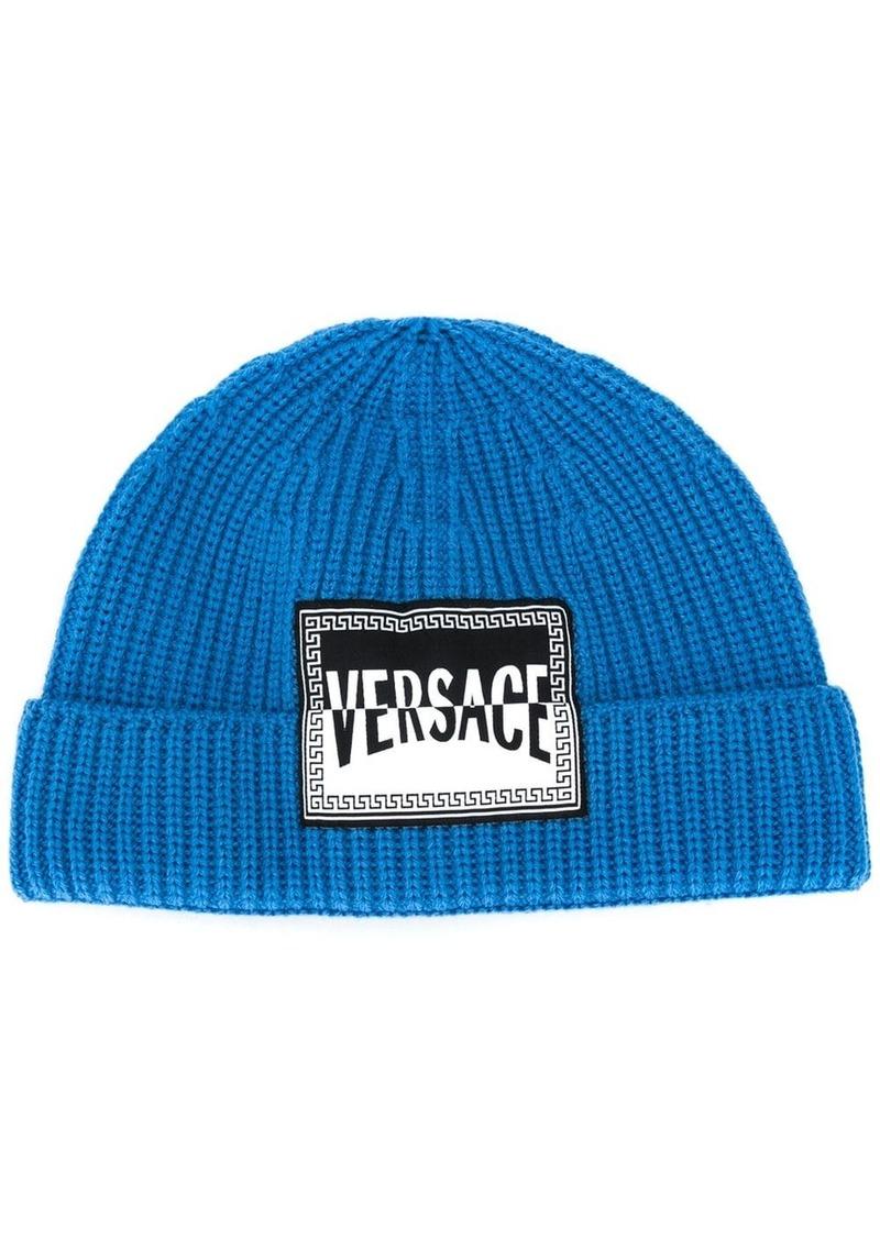 Versace logo patch beanie
