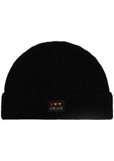 Versace logo patch beanie hat