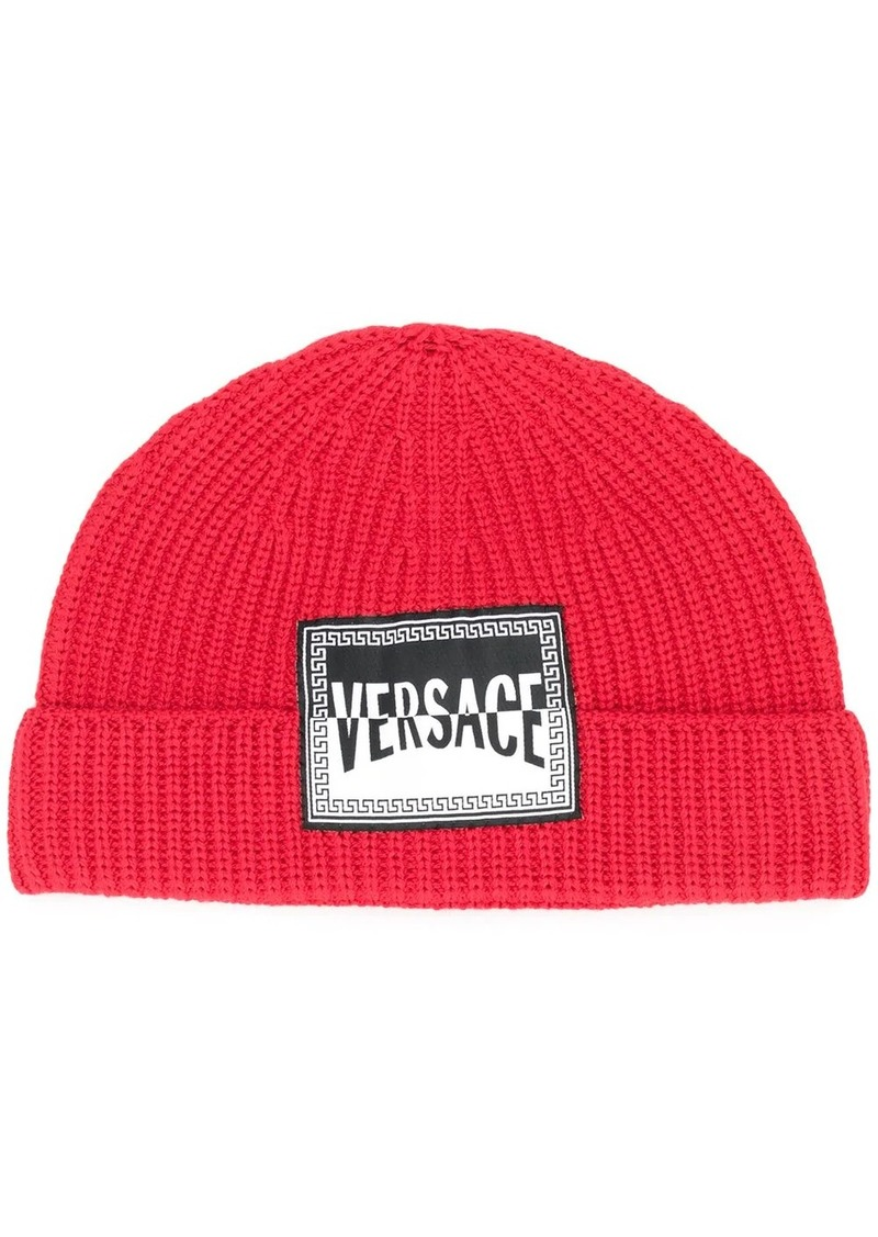 Versace logo patch wool beanie