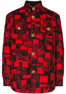Versace logo pattern button-down shirt