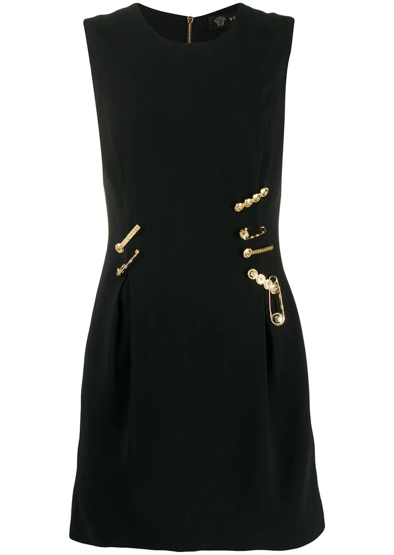 Versace logo pin embellished dress