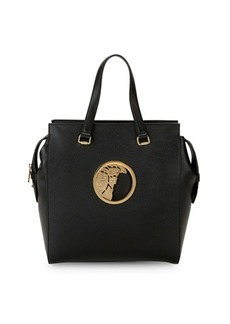 Versace Logo Plaque Leather Tote
