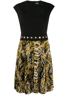 Versace logo pleated dress