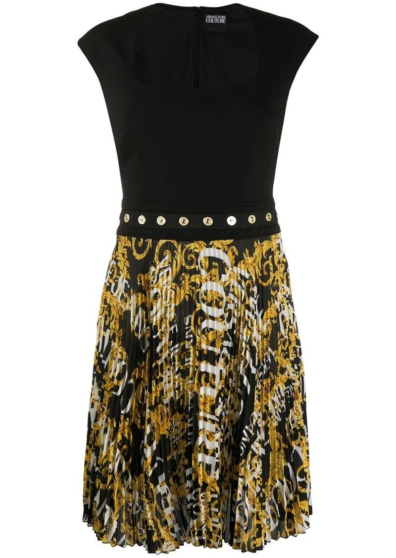 Versace logo pleated dress