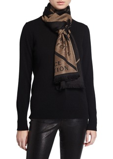 Versace Logo-Print Chevron Wool-Blend Scarf