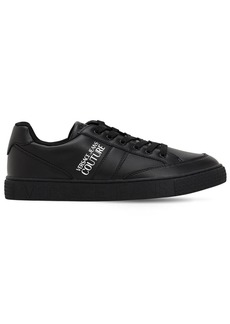 Versace Logo Print Faux Leather Sneakers