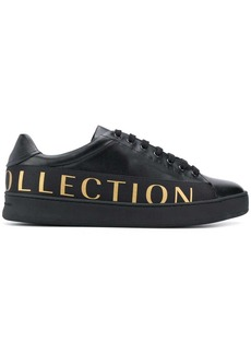 Versace logo print lace up sneakers