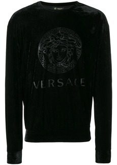 Versace logo print velour sweatshirt