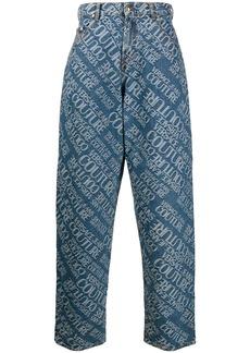 Versace logo print wide-leg jeans