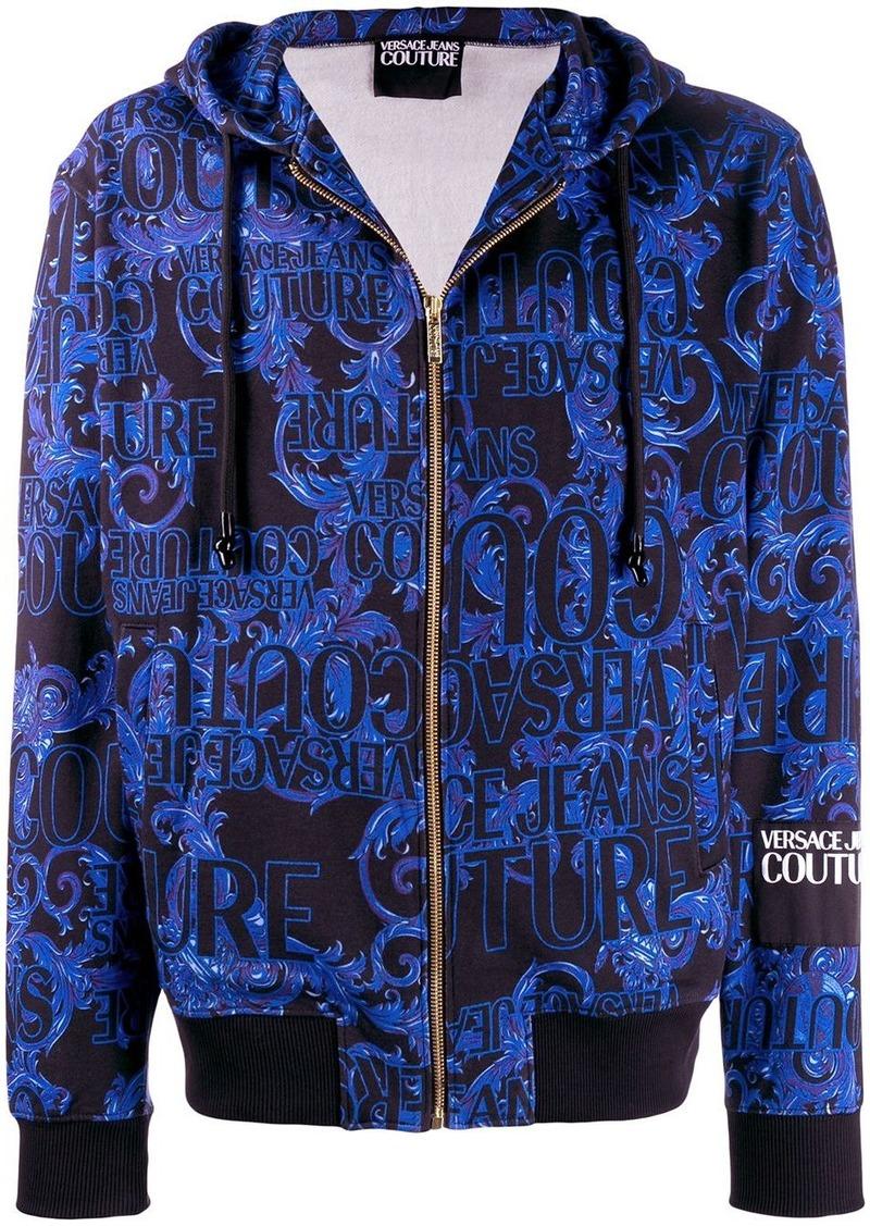 Versace logo print zip-up hoodie