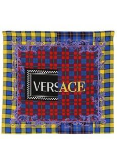 Versace Logo Printed Silk Twill Scarf