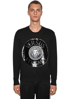 Versace Logo Sequined Cotton Crewneck Sweater
