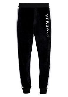 Versace Logo Side Stripe Velour Joggers