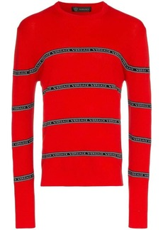 Versace logo stripe knitted jumper