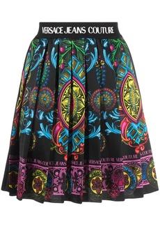 Versace logo-tape detail pleated skirt
