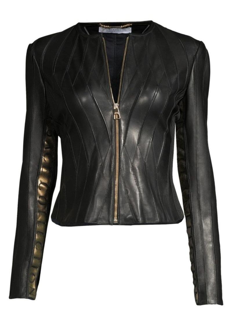 Versace Logo Tape Leather Jacket
