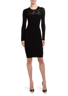 Versace Logo-Tattoo Knit Illusion Cocktail Dress