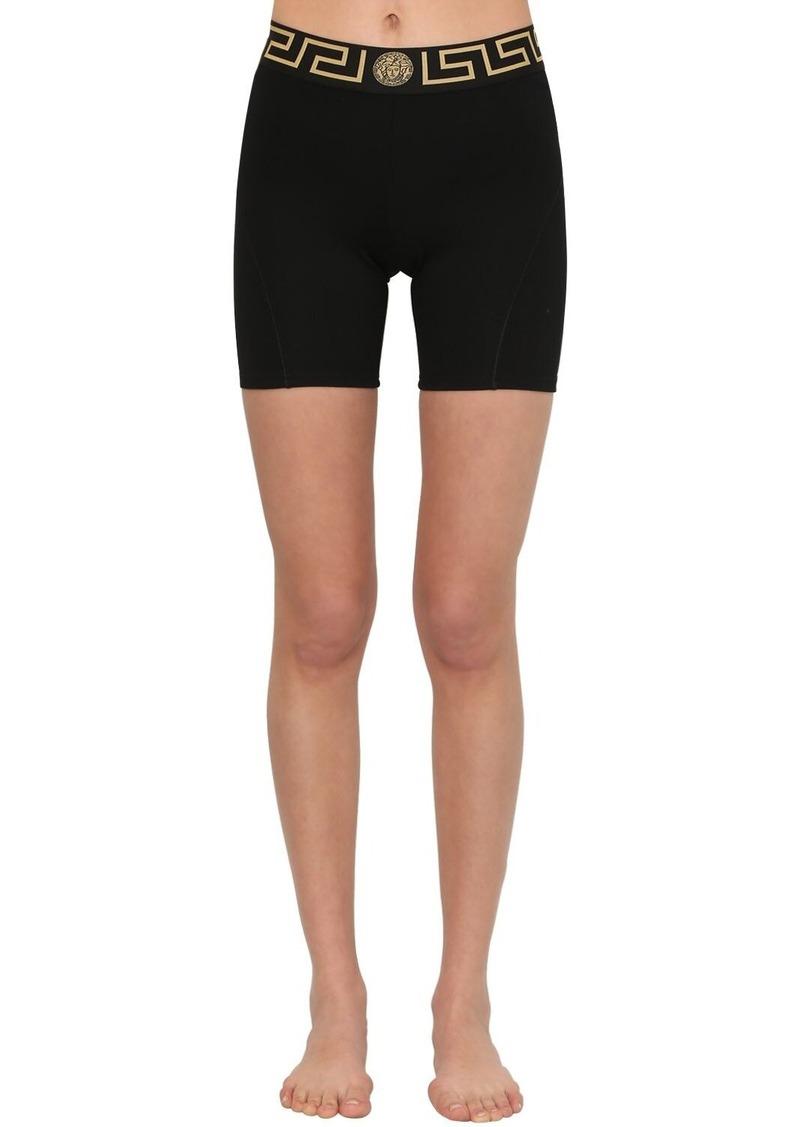 Versace Logo Waistband Stretch Jersey Shorts