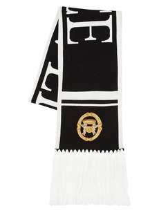 Versace Logo Wool Blend Jacquard Scarf