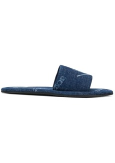 Versace Logomania print denim slides