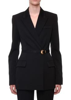 Versace Long Belted Stretch-Wool Tuxedo Jacket