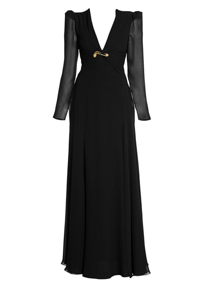 Versace Long Silk Slit Evening Gown