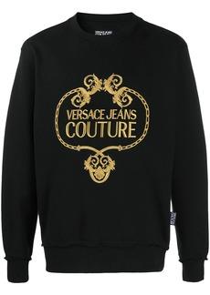 Versace long sleeve baroque-logo sweater