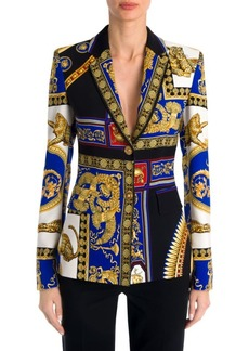 Versace Long-Sleeve Cady Two-Button Print Jacket