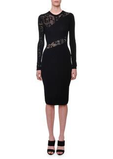 Versace Long-Sleeve Crewneck Tattoo-Knit Knee-Length Dress