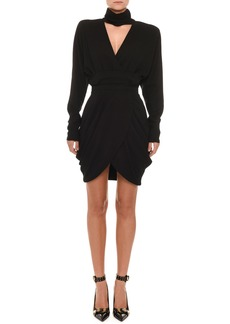 Versace Long-Sleeve High-Collar V-Neck Faux-Wrap Cocktail Dress