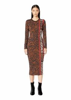 Versace Long Sleeve Printed Jersey Dress