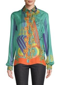 Versace Long Sleeve Printed Silk Shirt