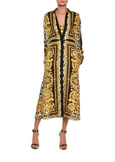 Versace Long-Sleeve Silk Twill Baroque-Print Midi Dress