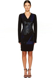 Versace Long Sleeve V-Neck Printed Dress