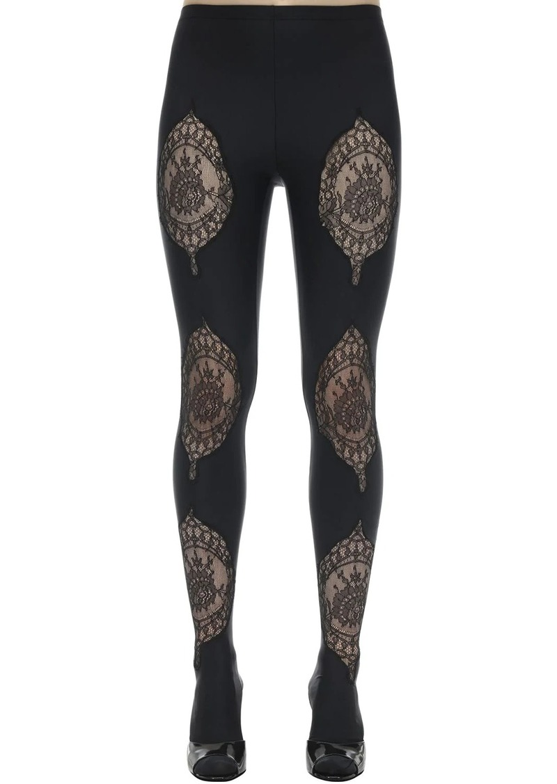 Versace Lycra & Lace Footed Leggings