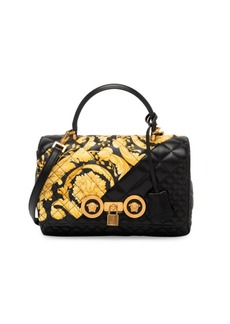 Versace Medium Top Handle Quilted Leather Bag