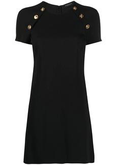 Versace Medusa-button silk shift dress