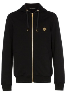 Versace Medusa embroidered zip up hooded jumper