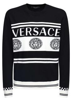 Versace Medusa Logo Intarsia Wool Knit Sweater
