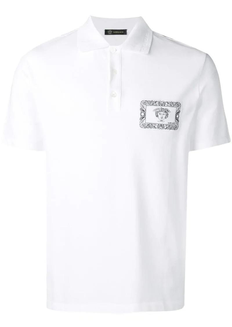 Versace medusa logo patch polo shirt