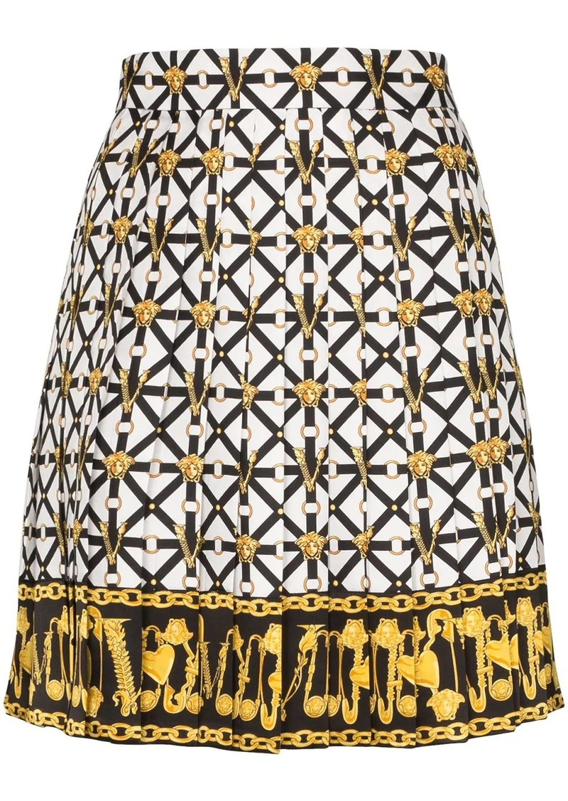 Versace Medusa printed pleated mini skirt